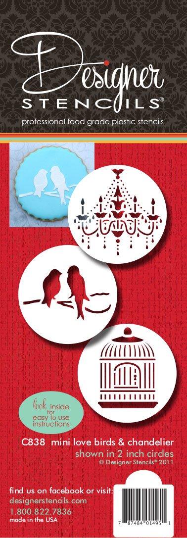 Designer Stencils C838 Love Birds/Chandelier Stencil Set, Mini, Beige/Semi-Transparent