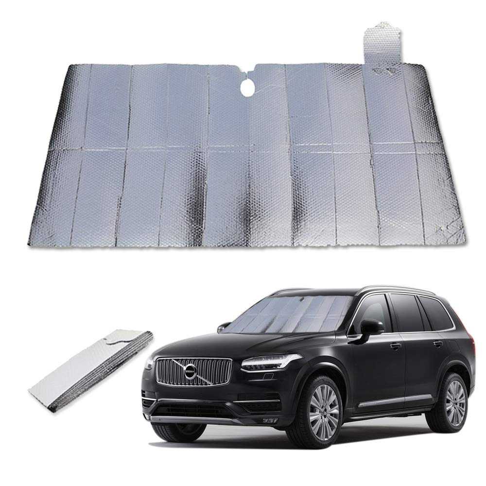 IVYSHION Car Windscreen Sunshade Foldable Auto Sunshade Front Window Sun Shade Windshield Sunshade Aluminum Foil UV Protection Heat Reflective Easy to Use for SUV Car Truck 150x70cm
