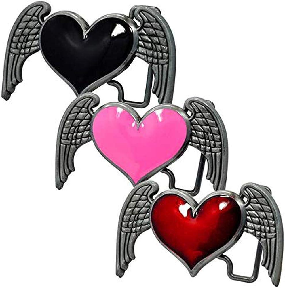 Womens Heart Wings Angel Belt Buckle Dark Brushed Metal