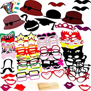 Photo Booth Props 76 Piece DIY Kit for Birthday Party, Wedding & Photobooth - Funny Prop Mustache, Tie, Glasses & Hats by GiantBoss