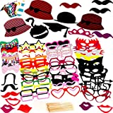 Photo Booth Props 76 Piece DIY Kit for Birthday Party, Wedding & Photobooth ...