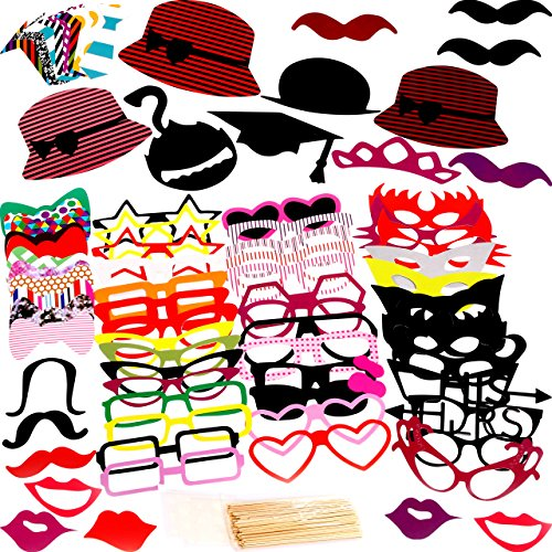 Photo Booth Props 76 Piece DIY Kit for Birthday Party, Wedding & Photobooth - Funny Prop Mustache, Tie, Glasses & Hats by - Glasses Photo Template For Booth