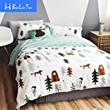 BuLuTu Siberia Forest Theme Cotton US Twin Kids Bedding Collections(1 Duvet Cover 2 Pillow Shams) White Bedding Cover Sets With 4 Corner Ties Wholesale