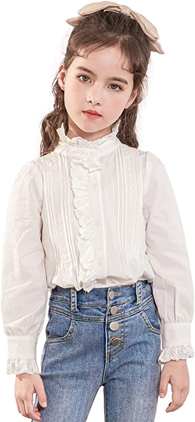 Toddler Infant Baby Girls Casual Long Sleeve Shirt Blouse Button White Tops 1-6Y