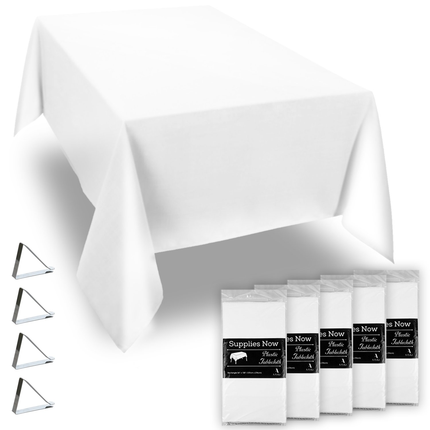 """White 54"""" x 108"""" Disposable Plastic Tablecloths Set Includes 5 Plastic Table Covers and 20 Stainless Steel Clips (25 Pieces)"""