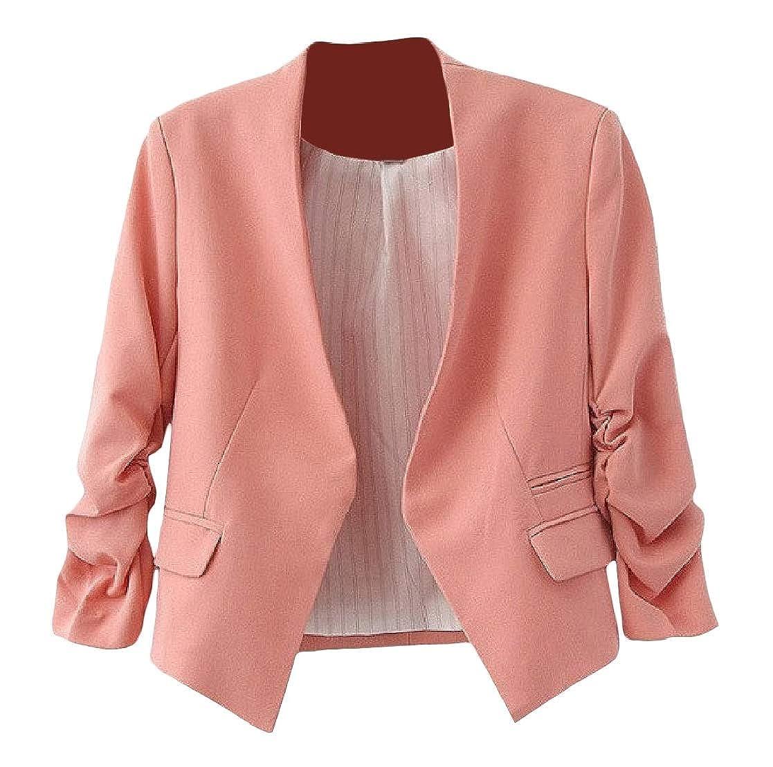 YUNY Women Solid Bishop Sleeve Slim Short Mini Stylish Blazer Outwear Pink M