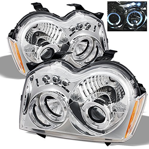 For Jeep Grand Cherokee Chrome Clear Dual Halo Ring Projector LED Replacement Headlights LH/RH Head Lamp