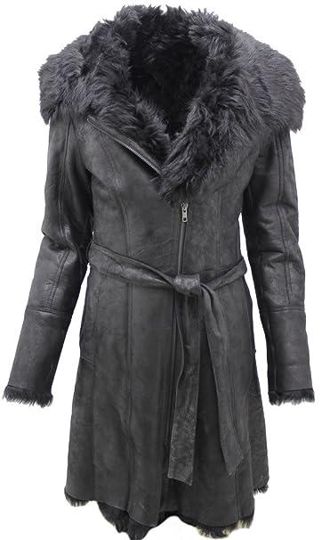 Negro de las mujeres de cuero real de ante Toscana piel de oveja abrigo de piel con correa de lazo XS: Amazon.es: Ropa y accesorios