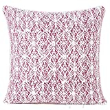 Eyes of India - 16'' Pink Kantha Colorful Decorative Couch Pillow Cover Cushion Throw Sofa Indian Bohemian BohoCover Only