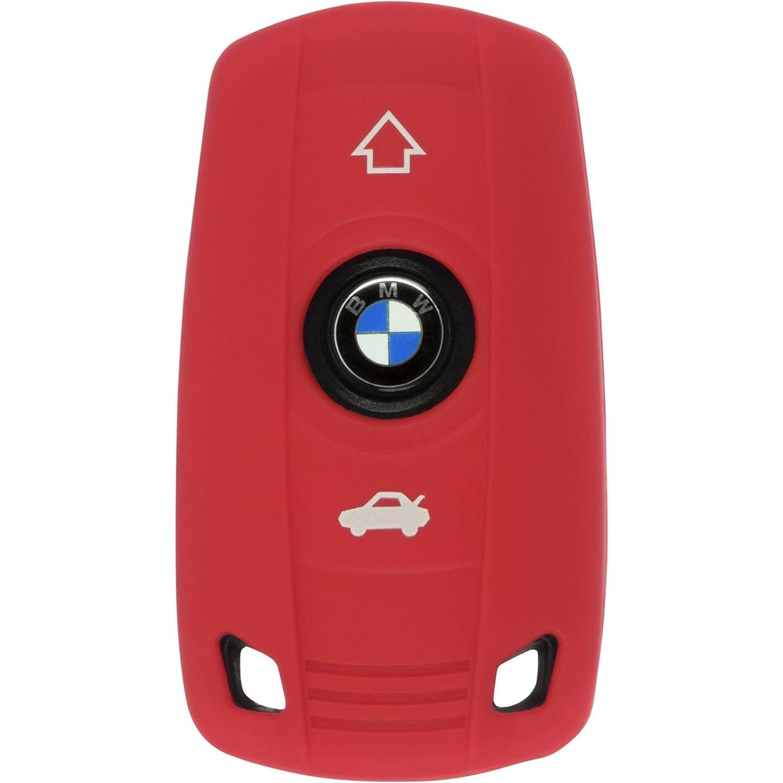 PhoneNatic Funda de Silicona para Mando de 3 Botones de BMW 3er E46 und 5er E60 en Rojo Llave Plegable de 3-Key