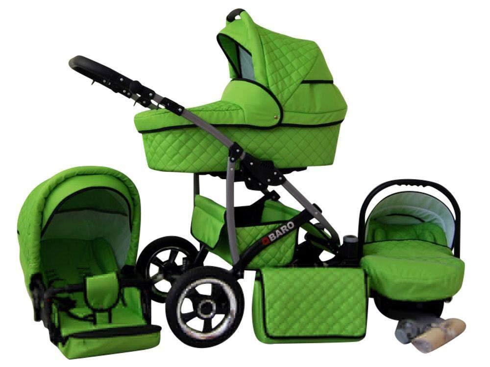 Kinderwagen 3 in1 2in1 Isofix Komplettset mit Autositz Q-Bus 12 Farben by ChillyKids Beige 2in1 ohne Babyschale