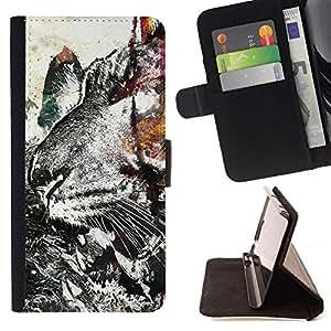 Momo Phone Case / Flip Funda de Cuero Case Cover - Modelo del tigre del Grunge;;;;;;;; - HTC One A9