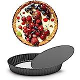 Tart Pans Removable Bottom, Beasea 2pcs 8 Inch Pie Pans Non Stick Mini Tart Pans, Loose Bottom Fluted Tart Pan Round…