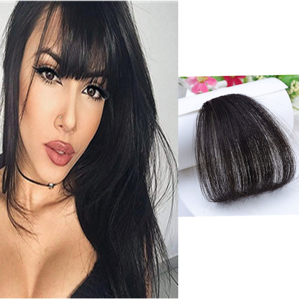 HIKYUU Bangs Hairpiece Clip-in Front Straight Hair Bangs Extensions without Temples Natural Black 100% Real Remy Human Hair Natural Looking by HIKYUU (Image #1)