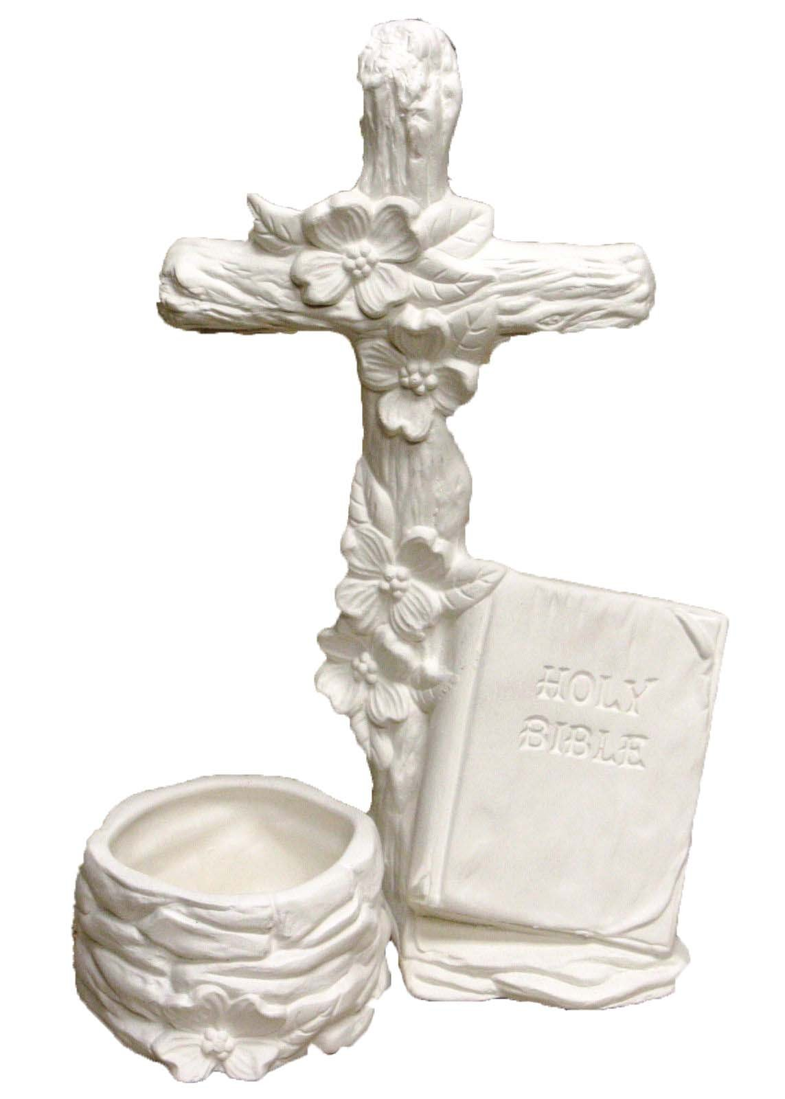 Dogwood Cross 9'' Candleholder Ceramic Bisque, ready to paint
