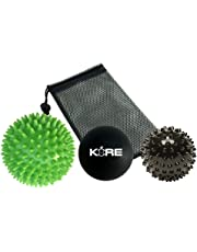 Massage Balls Set of 3 with Stylish Mesh Storage Transport Bag. Spiky, Smooth or Hard Ball for Stress Relief, Deep Tissue Trigger Point, Myofascial Release Therapy, Plantar Fasciitis & Muscle Aches. Designed and Packaged in Canada
