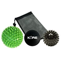 Massage Balls Set of 3 with Mesh Carry Transport Bag. Spiky, Smooth and Hard. For Stress Relief, Deep Tissue Trigger Point & Myofascial Release Therapy, Plantar Fasciitis & Muscle Aches. Quality Durable Design.