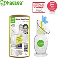 Haakaa Breast Pump Manual Breast Pump Silicone Breast Pump with Suction Base and Flower Stopper Combo 100% Food Grade Silicone BPA PVC and Phthalate Free (100ml) (Blue)
