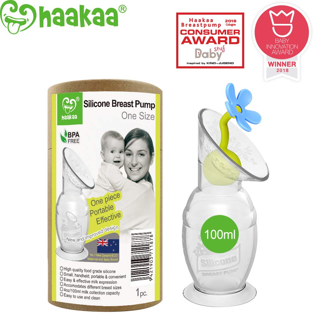 Haakaa Manual Breast Pump Breastfeeding with Suction Base and Flower Stopper 100% Food Grade Silicone BPA PVC and Phthalate Free (4oz/100ml) (Blue)