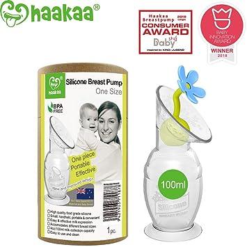sin BPA color azul Haakaa Bomba de leche manual de silicona con tap/ón de flor 100/% silicona de grado alimenticio 90 ml