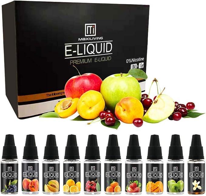 E Liquid, Vape Liquid Juice 10 Pack (10pc x10ml) 70VG / 30PG E Cigarettes Vapor Oil Sin nicotina, Sin tabaco: Amazon.es: Salud y cuidado personal