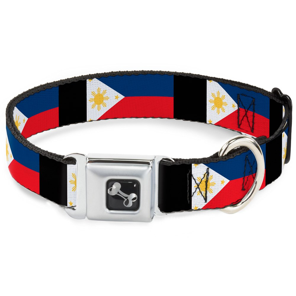 Buckle-Down 11-17  Philippines Flags Dog Collar Bone, Medium