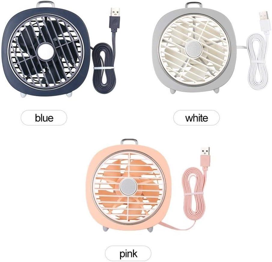 Color : Pink YIWU USB Table Fan 3 Speeds 180/° Wind Direction with Night Light Desktop Fan