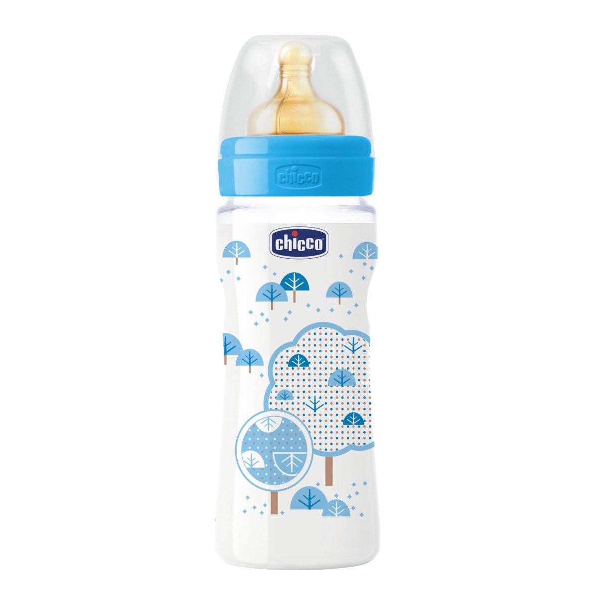 de flujo papilla Biberon con tetina de caucho 330 ml 0/% BPA Chicco 00070734200040 color azul