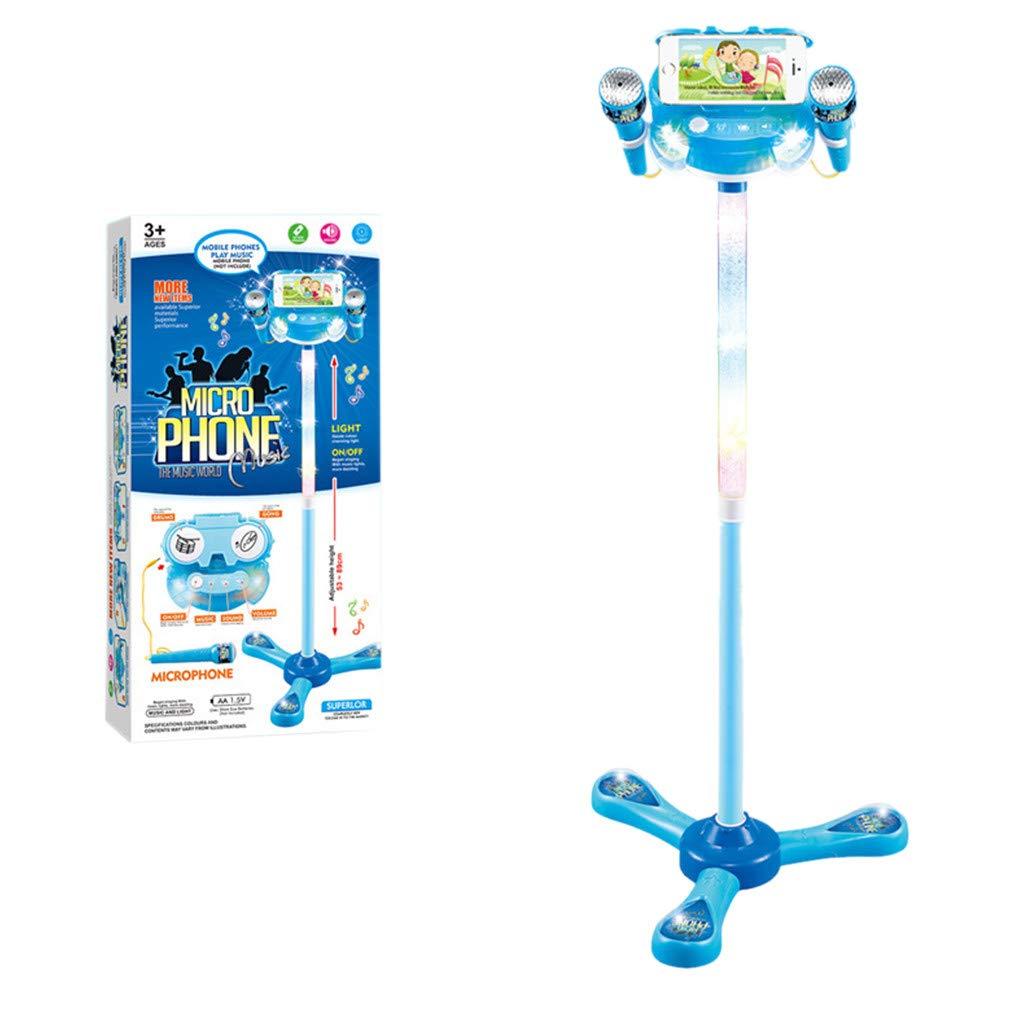 TianranRT Kinder-Karaoke-Maschine mit 2 Mikrofonen einstellbarem Stand-Musik-Spiel-Spielzeug-Set (Blau)