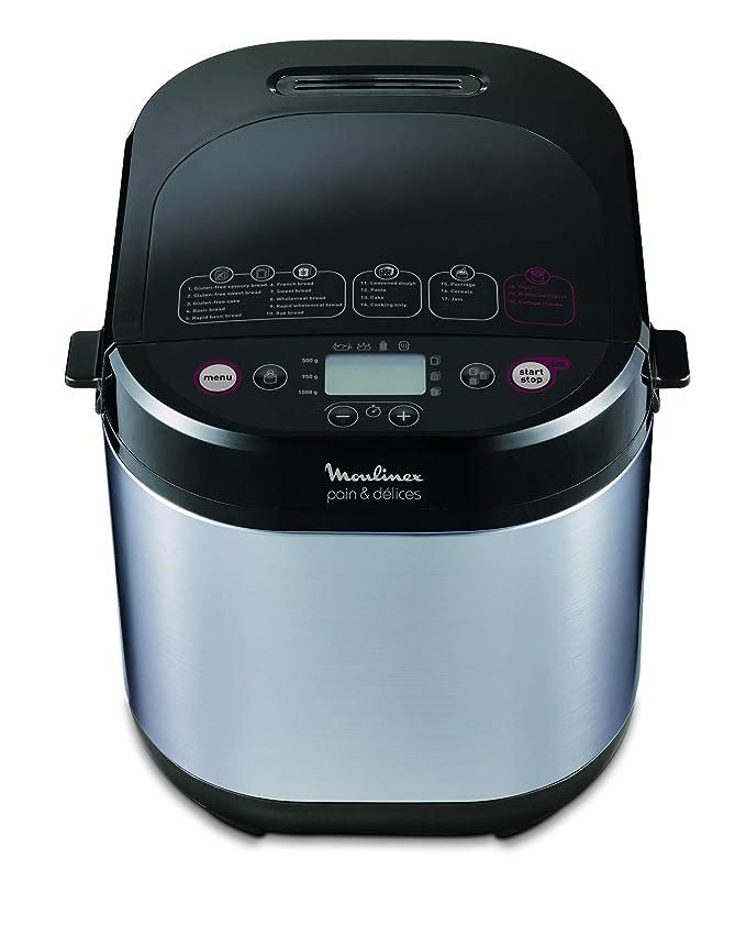 Moulinex Pain&Delices - Panificadora, 1 kg, 20 programas automáticos, 3 pesos, 3 niveles de dorado, color plata y negro: Amazon.es: Hogar