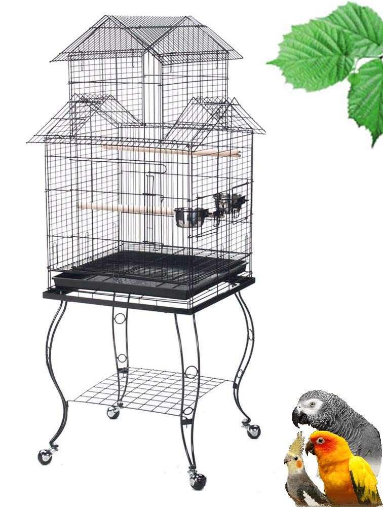 Mcage New Large 55-Inch Large Canary Parakeet Cockatiel Lovebird Finch Roof Top Bird Cage with Removable Stand (Black Vein) by Mcage
