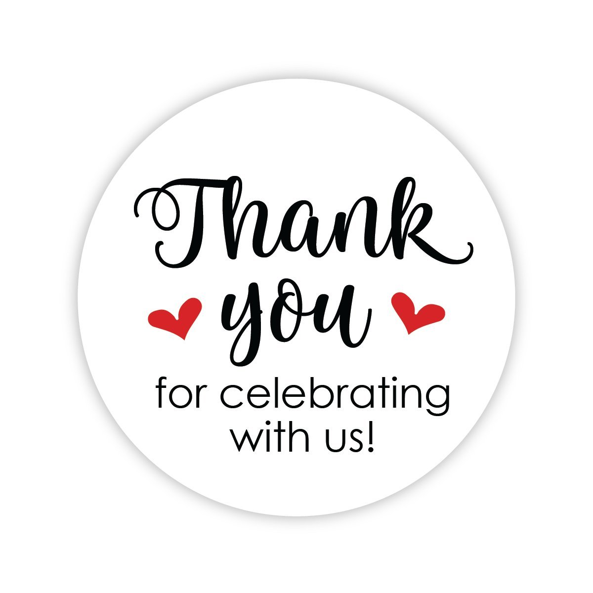 Thanks for Celebrating With Us Stickers, Wedding and Event Favor Labels (# 265-RD)