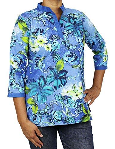 Indian Kurti Womens vêtements confortables Airy pour l'été Coton Imprimé Top