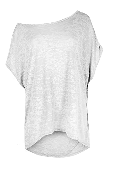 30a211e09bf257 Oops Outlet Womens Scoop Neck Beach Celeb Baggy Mesh Burn Out T Shirt Top  at Amazon Women s Clothing store