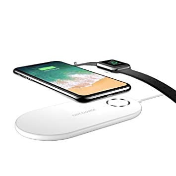 Auckly Cargador Inalámbrico Rápido 2 en 1 para iPhone X/Apple Watch,Soporte de Carga Inalámbrico Pad para iWatch/iPhone 8/8 Plus y Samsung Galaxy ...
