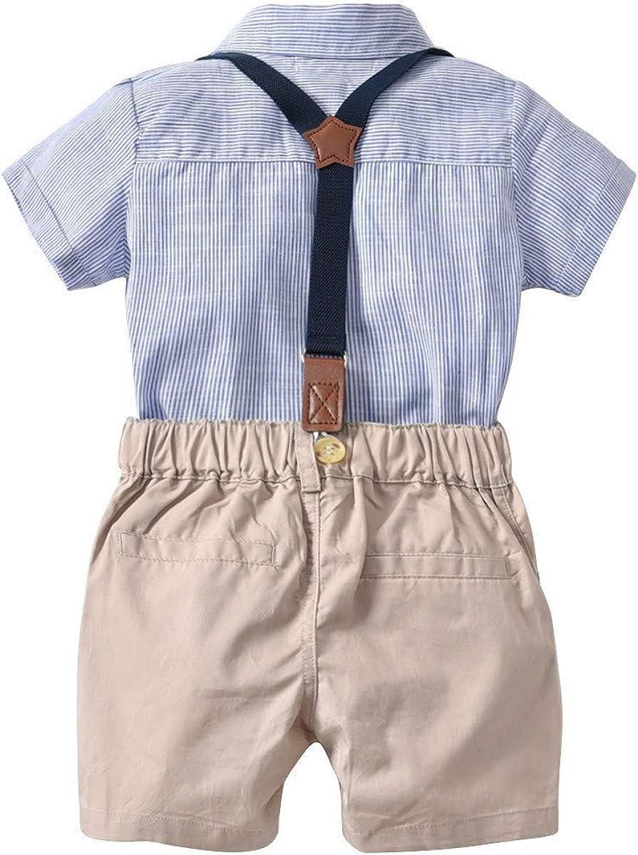 Kurze Hose mit Tr/äger Set Outfits 2-Teiliges Kleinkind Jungen Babyanzug Sommer Gentleman Party Taufe Anzug Festlich Hemdbody mit Fliege