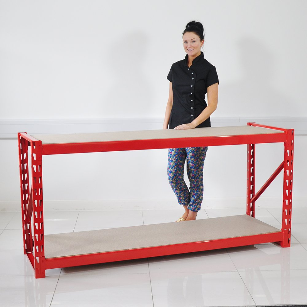 1.95m Red Heavy Duty Workbench Shelving Unit for Warehouse/Garage/Sheds DealsOnline