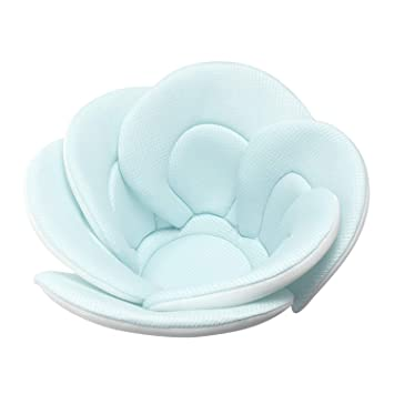 Portable Infant Bath Shower Tub for Girls Newborn Toddler Bathing Support with Cushion Mat Blue Baby Bathtub