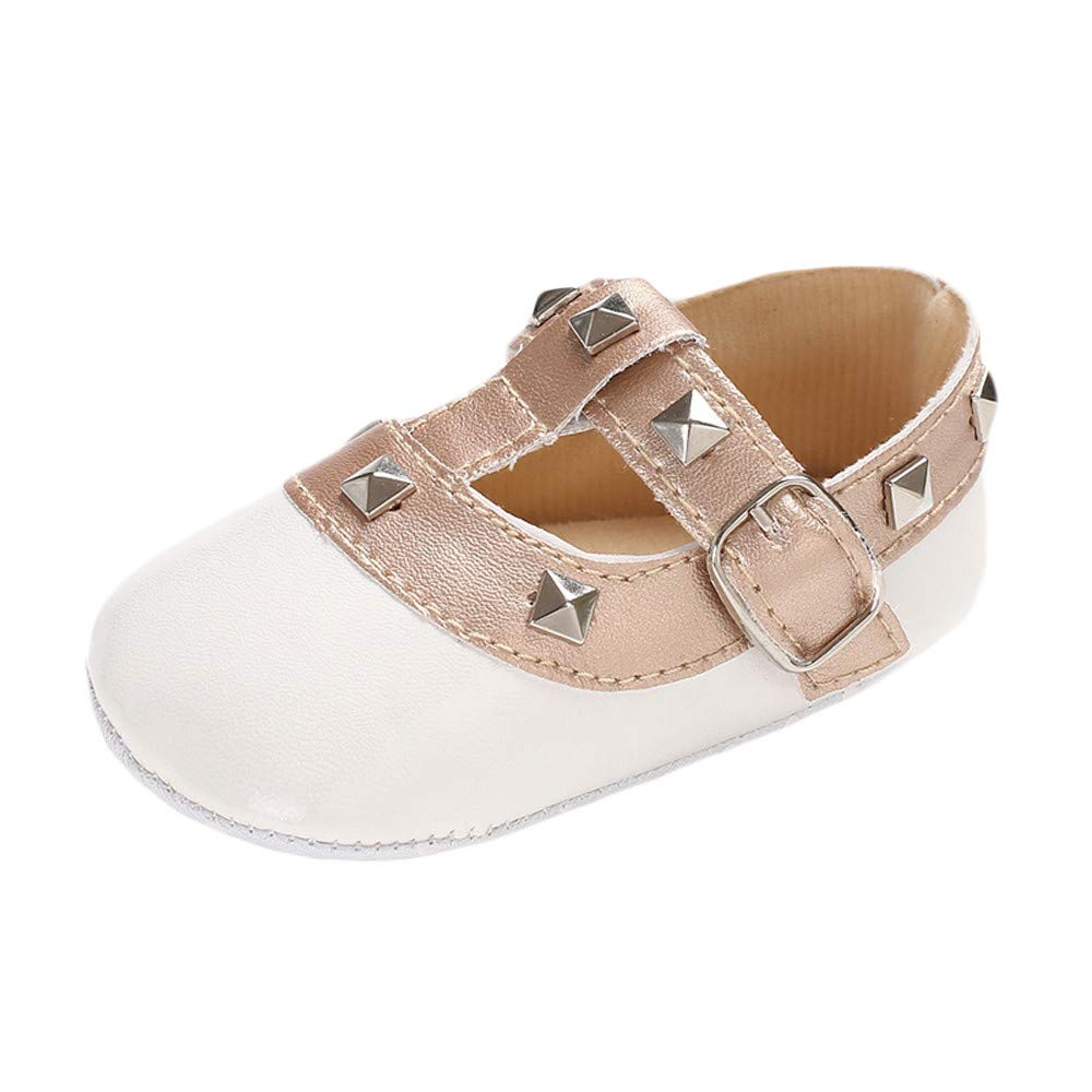 NUWFOR Infant Newborn Baby Girls Shoe Rivet Soft Crib Anti-Slip Non-Slip Princess Shoes(White,0-6 Months)