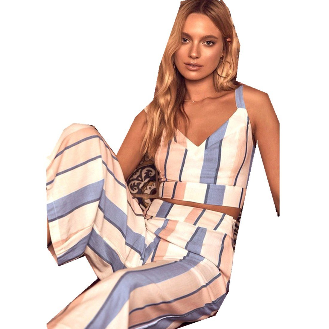 Summer Women's New Color Strip Wide Leg Pants Sleeveless Vest Two-Piece