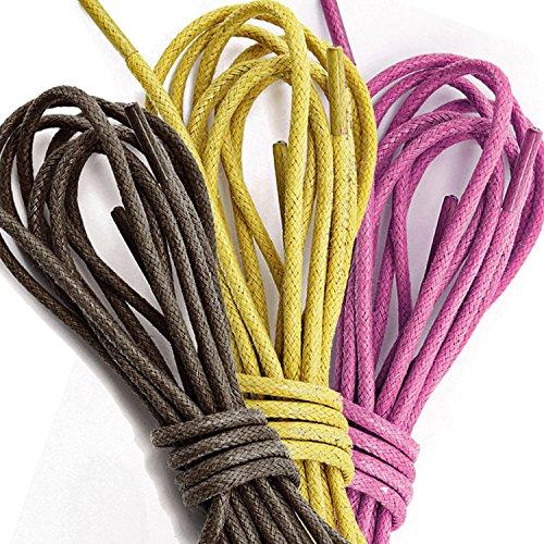 3 Paia Pack Dailyshoes Cerate Rotonde Lacci Delle Scarpe Sottili Per Scarpe Da Trekking Scarpe Oxford Piatte Marrone Scuro, Rosa, Giallo (3 Paia)