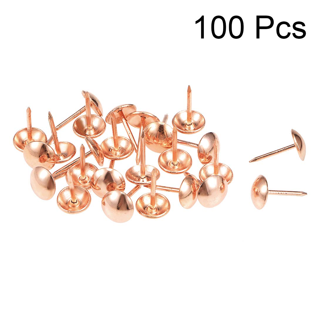 tachuelas y clavos de tapicer/ía 5mmx13mm Rose Gold Tone 100 Piezas sourcing map Pernos de empuje redondo