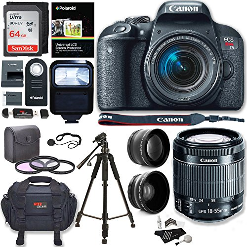 Canon EOS Rebel T7i Camera, EF-S 18-55 IS STM Lens Kit, Lexar 64GB, Ritz Gear Premium SLR Camera Bag, Polaroid Filter Kit, Flash and Accessory Bundle by Ritz Camera