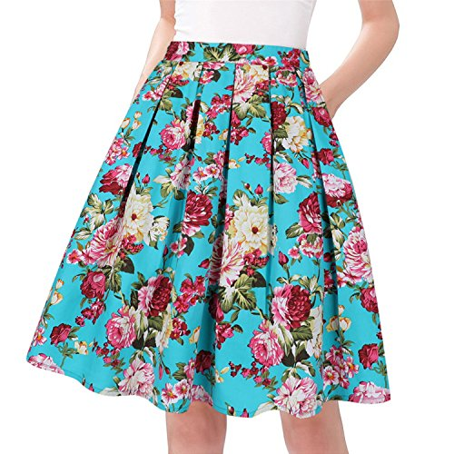 (Taydey A-Line Pleated Vintage Skirts for Women (XL, A2 Green Flowers))