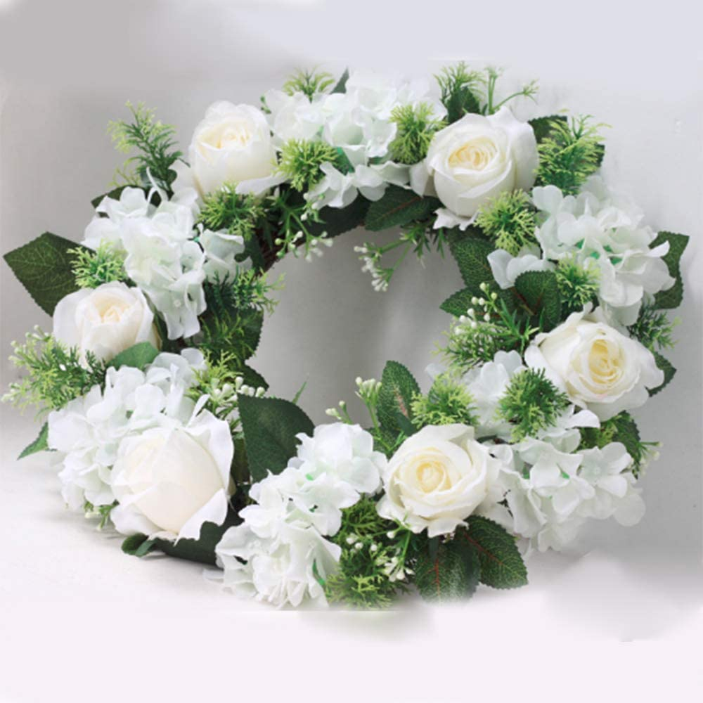 MERICP Artificial Rose Wreath Vintage Artificial White Rose Garland for Spring Front Door Wall Wedding Party Christmas Decorations