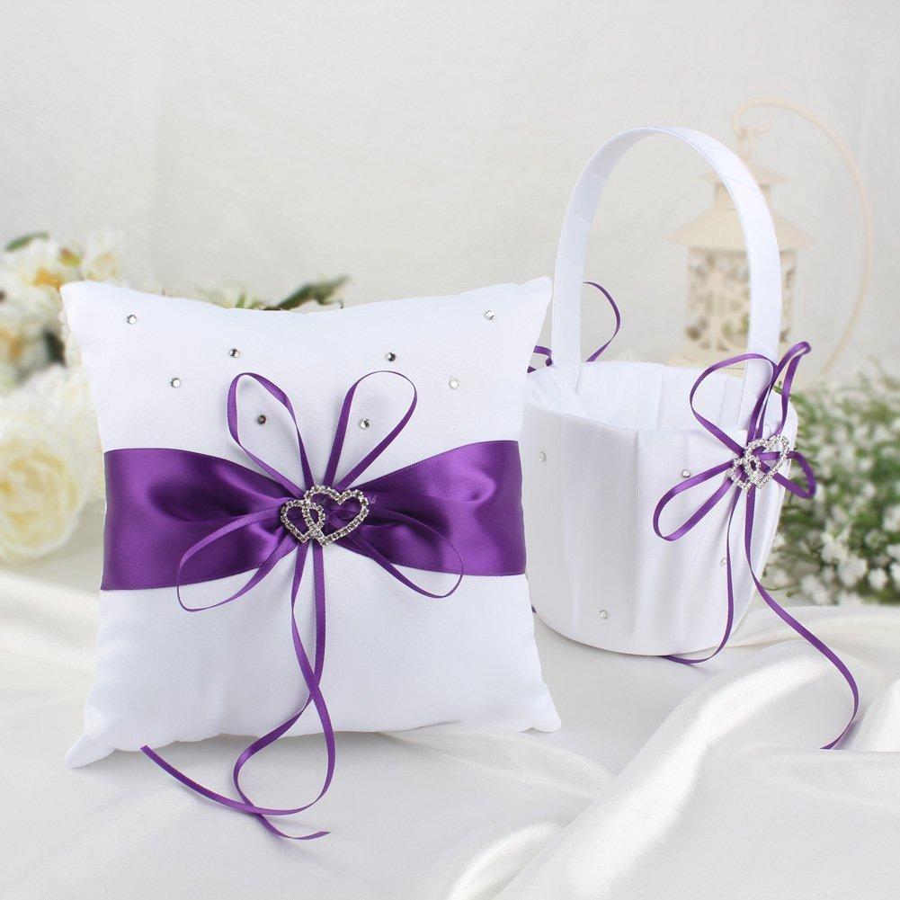 Amazon.com: KANECH 5pcs Sets-Purple Satin- Wedding Flower Girl ...