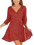KIRJAUDU Womens V-Neck High Waist Party Cocktail Chiffon Polka Dot Wrap Dress with Belt Red XL