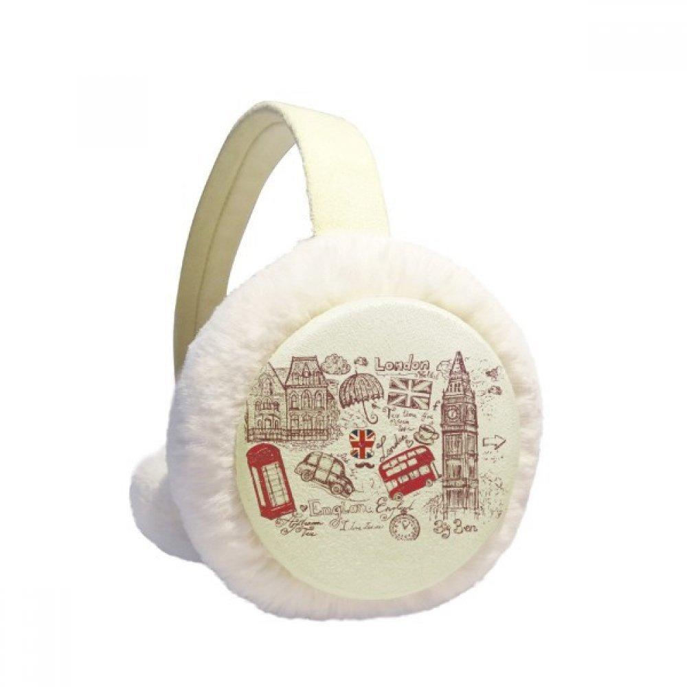 Big Ben Bus England Flag Sketch Illustration Winter Earmuffs Ear Warmers Faux Fur Foldable Plush Outdoor Gift