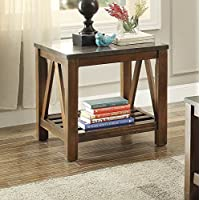 Ashby End Table w/Bluestone Marble Top in Oak
