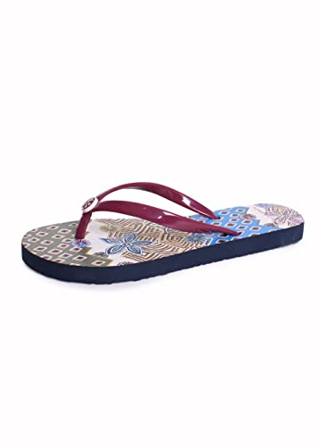 6040a0908416a Tory Burch Thin Printed PVC Flip Flop Sandals in Red Cordovan Jasmine Floral  Size 6